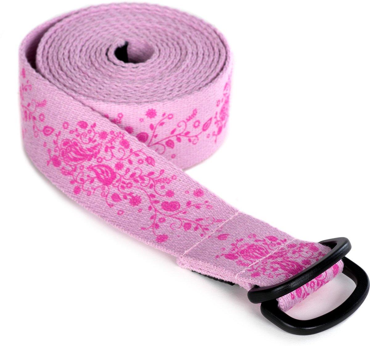 Yoga riem yogibelt indian flower, Pd-ring - roze Yoga riem YOGISTAR kopen