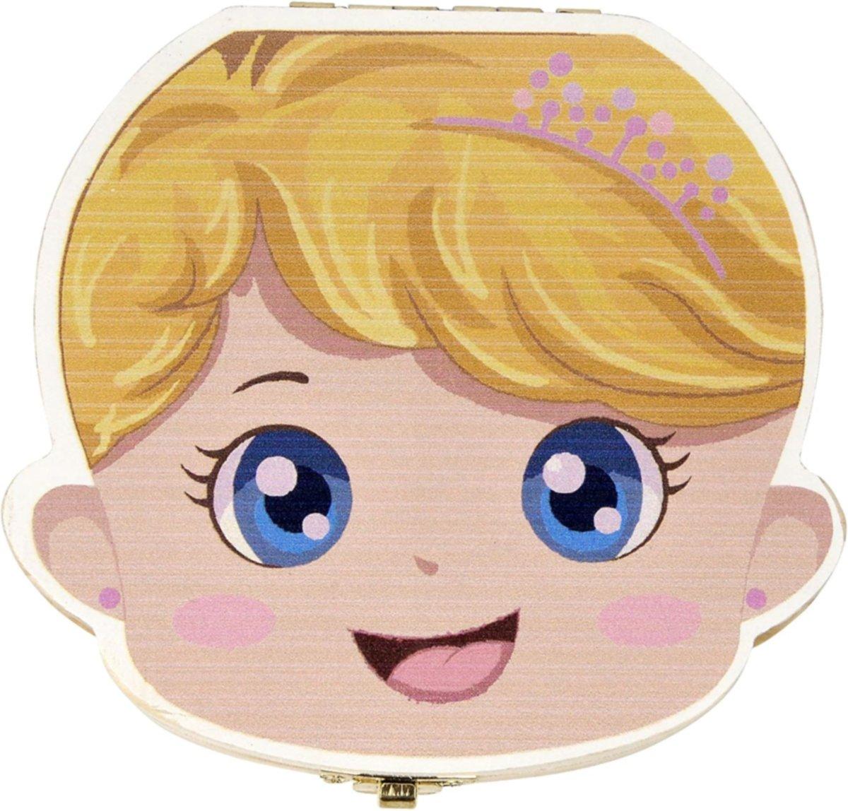 WiebelTandje - Houten Tandendoosje Nederlands voor Melk Tanden van Tandenfee met Geschenk Doosje – Meisje/Blond