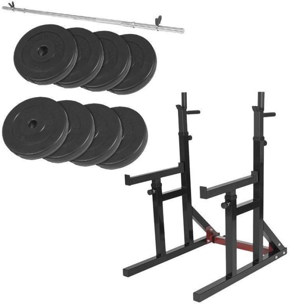 Gorilla Sports Multi Squat Rack belastbaar tot 260kg + 40 kg halterset kopen