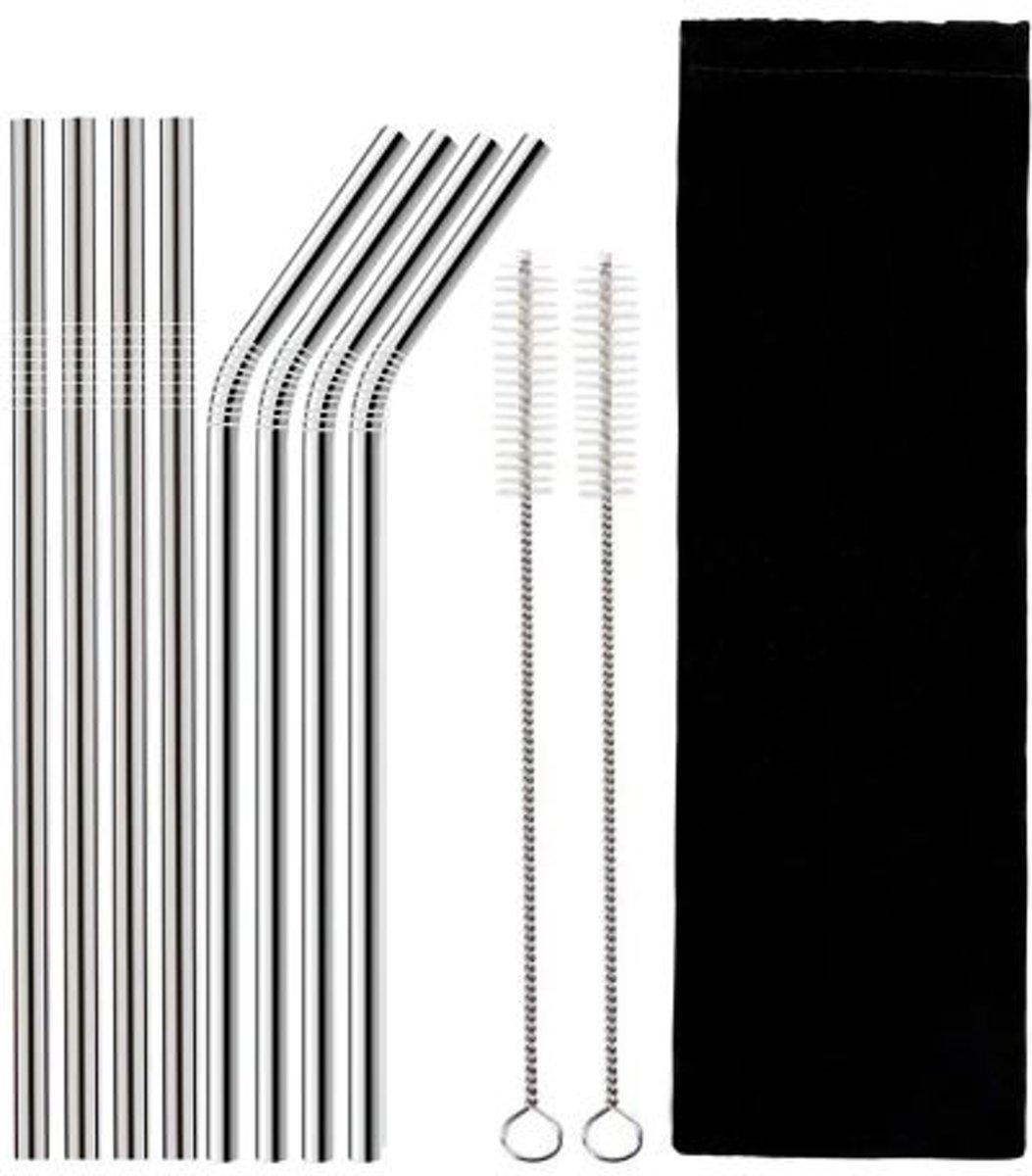 Krumble Rietjes set van 8 / RVS / 4x rechte rietjes 4x gebogen rietjes / Duurzaam en afwasbaar - Staal