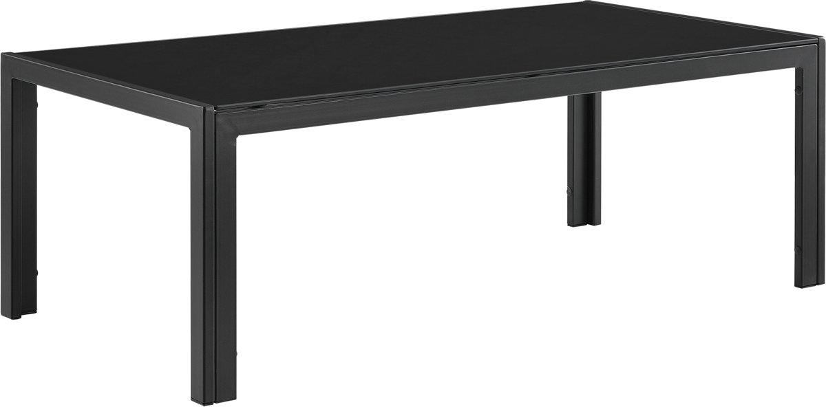 [casa.pro]® Glazen tuintafel - metalen frame - zwart kopen