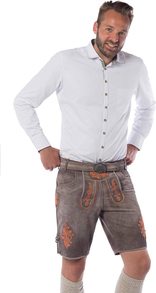 Lederhose voor mannen - Korte lederhosen – Gaudi Oranje - Oktoberfest kleding - 100% leder