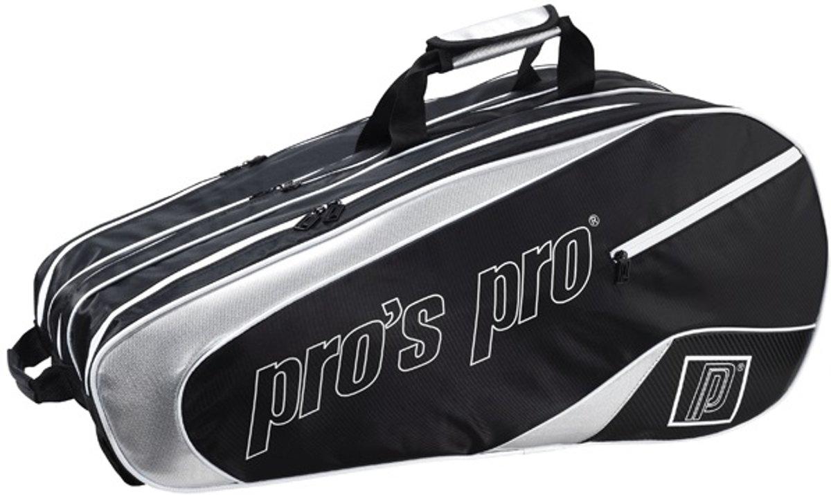 Pro's Pro 12-Racketbag Zwart-zilver L111 tennistas kopen