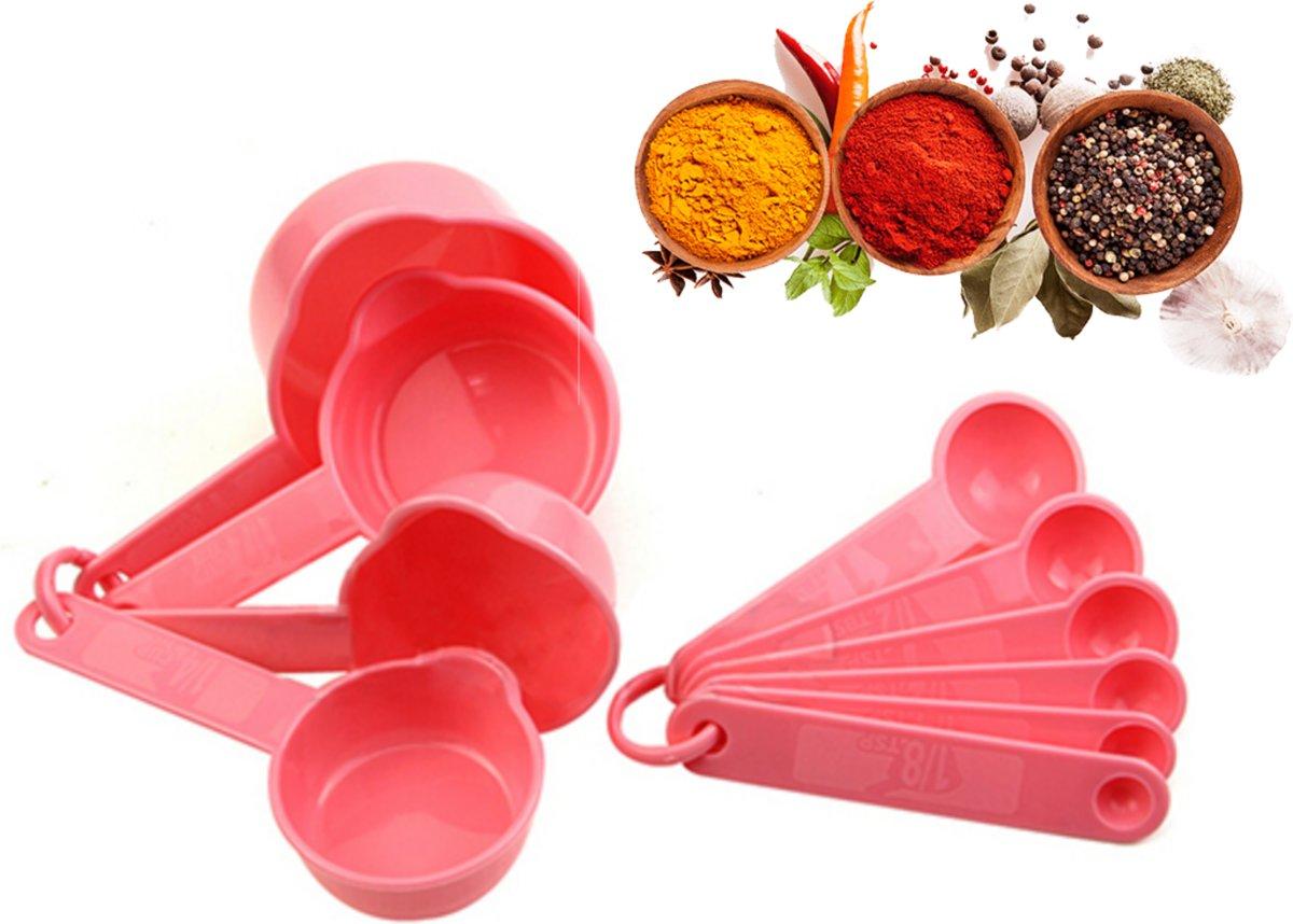 Happy cups™ 10-delige maatlepels en maatscheppen set roze - multifunctionele maatschepjes voor koken en bakken - measure cups - meetscheppen - maatbeker set - meetlepels kopen