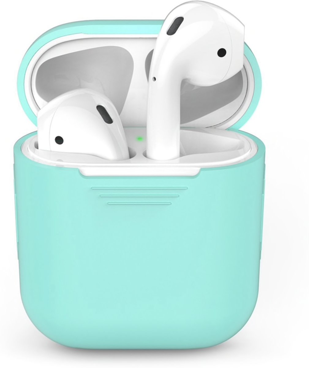 Airpods Silicone Case Cover Hoesje voor Apple Airpods - Cyaan Turquoise kopen