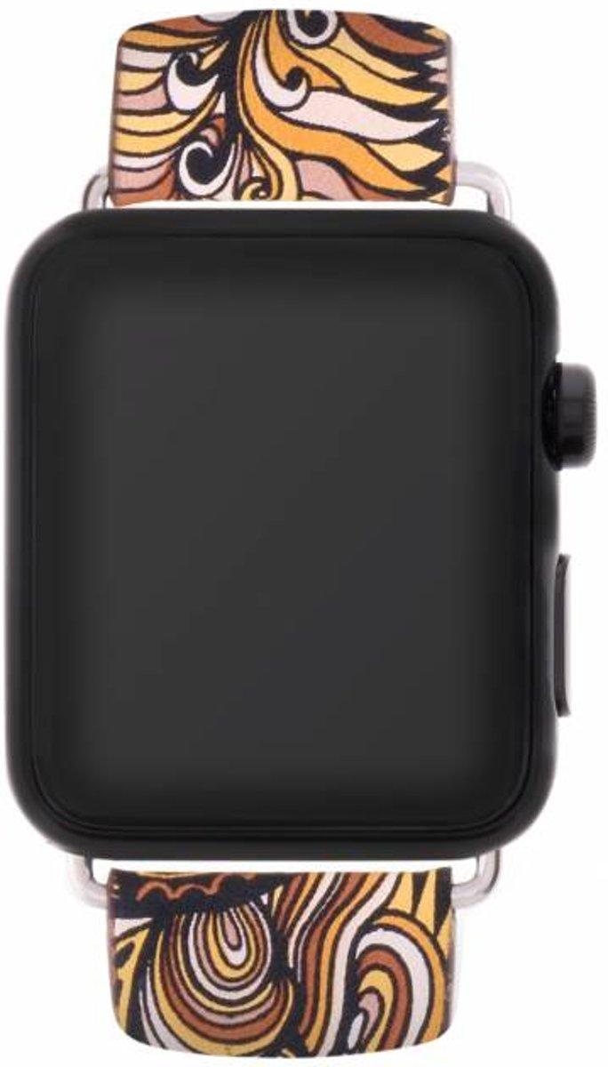 Oranje color design lederen bandje voor de Apple Watch 40 / 38 mm kopen