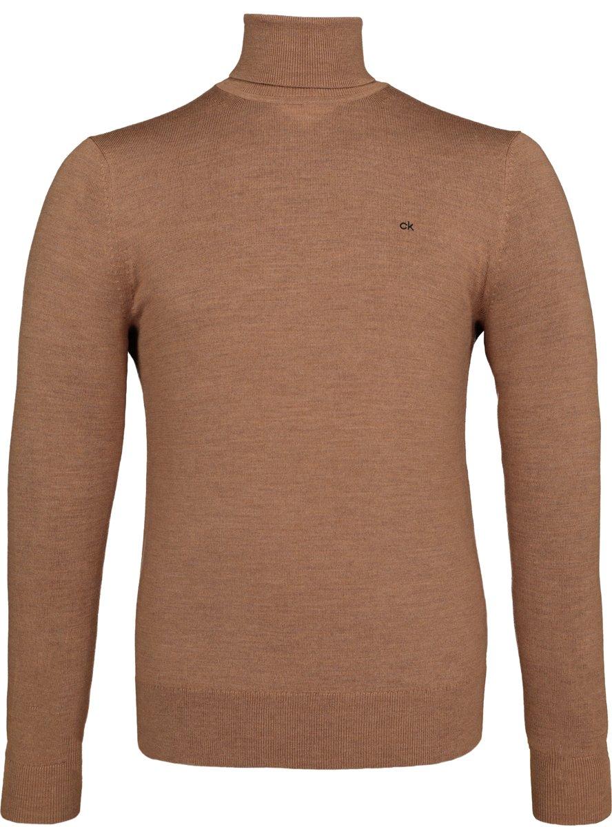 Calvin Klein superior wool pullover - heren coltrui wol - caramel bruin -  Maat XL kopen