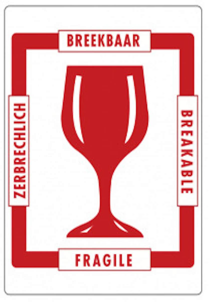 Bol com behandelingsetiket glas rood wit breekbaar 4 talen 74x105 mm op rol