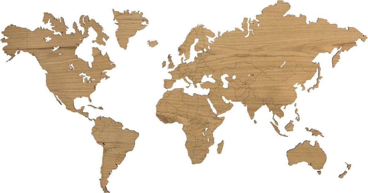 Eiken wereldkaart 216 x 117cm