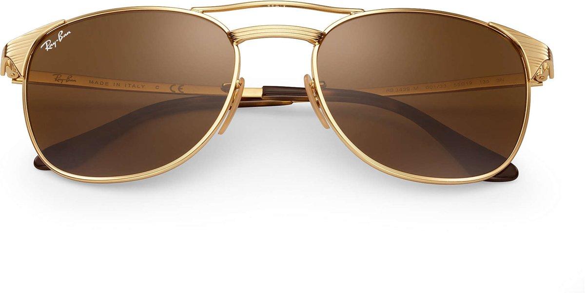 Ray-Ban RB3429M 001/33 - Signet - zonnebril - Goud / Bruin Klassiek B-15 - 55mm kopen