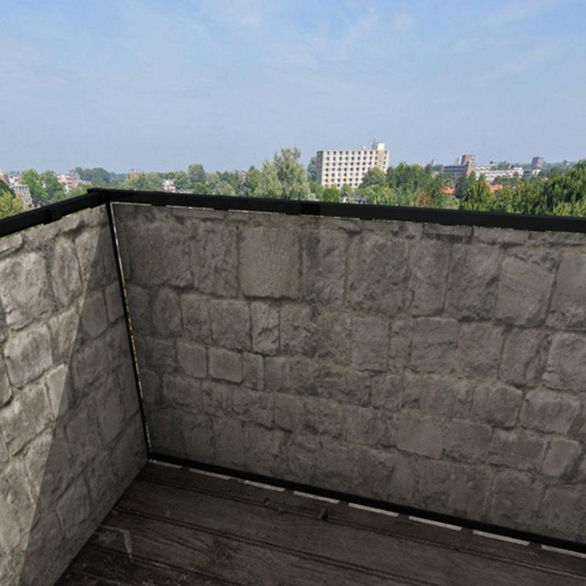 Balkonafscheiding grijze steen (100x300cm Dubbelzijdig)
