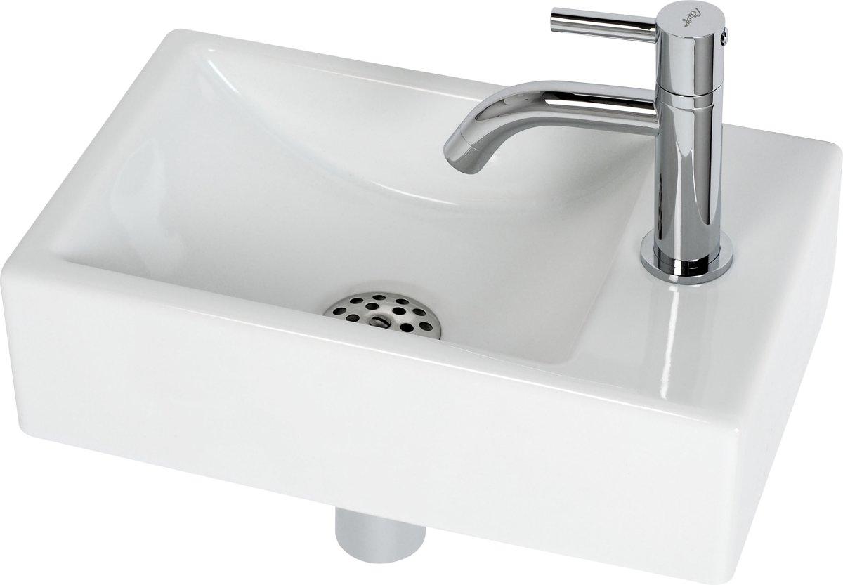 Plieger Austin Fontein Toilet Rechts - Set - Fontein 37 x 23 cm inclusief fonteinkraan en sifon - Keramiek - Wit kopen