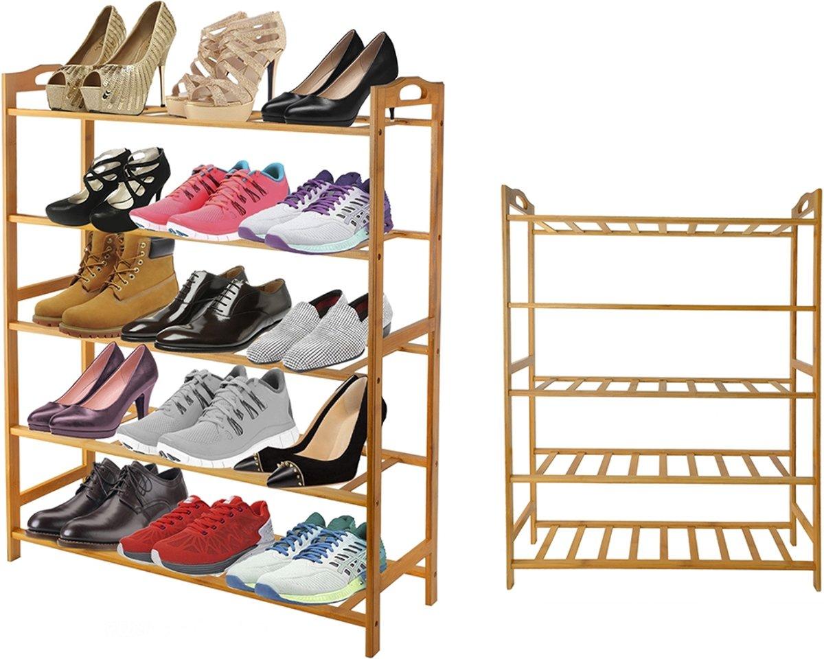 Schoenenkast Voor 24 Paar Schoenen.Top Honderd Schoenenrek Bamboe 5 Etages 15 Paar Schoenen