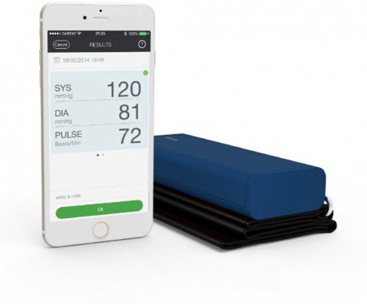 QardioArm draadloze bloeddrukmeter: compact en draagbaar manchet voor de bovenarm - compatibel met bluetooth voor Apple- en Android-toestellen- Blauw
