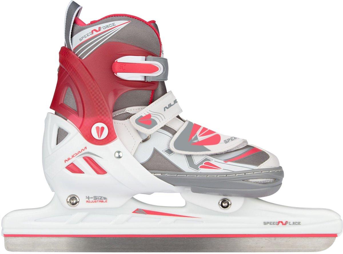 Nijdam Junior Norenschaats Junior Verstelbaar - Semi-Softboot - N-Force II - Wit/Grijs/Roze - 29-32