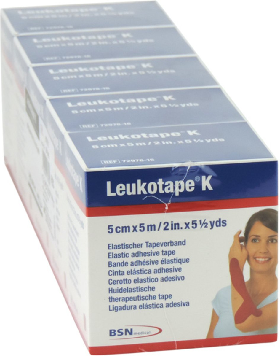 Leukotape K, therapeutische tape, 5m x 5cm rood, 5 stuks. kopen