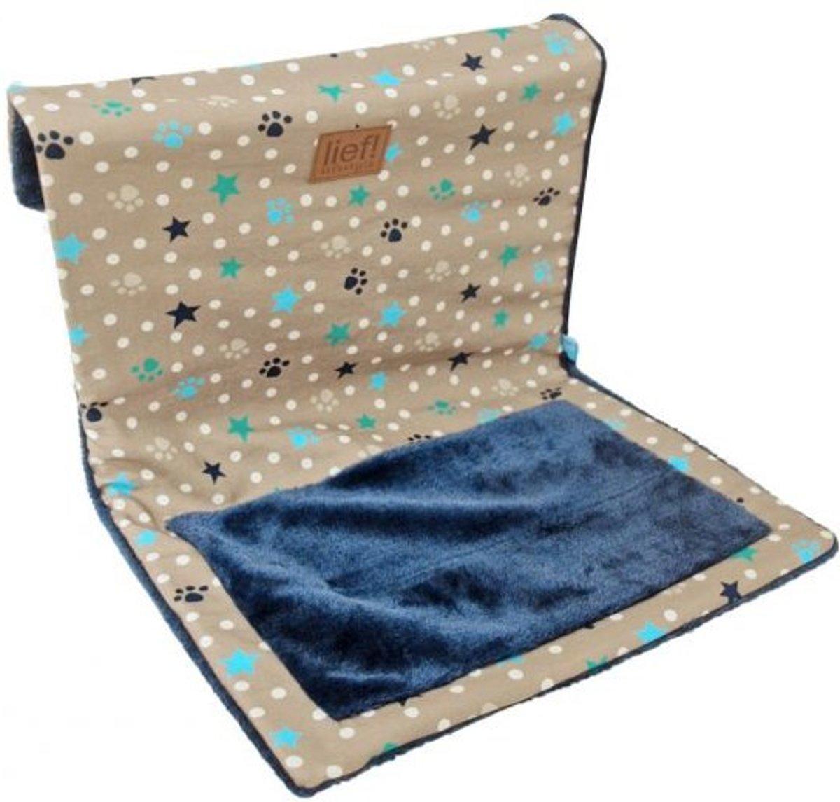 Lief! Kattenhangmat - Beige/Blauw - 45 x 34 x34 cm voor katten kopen
