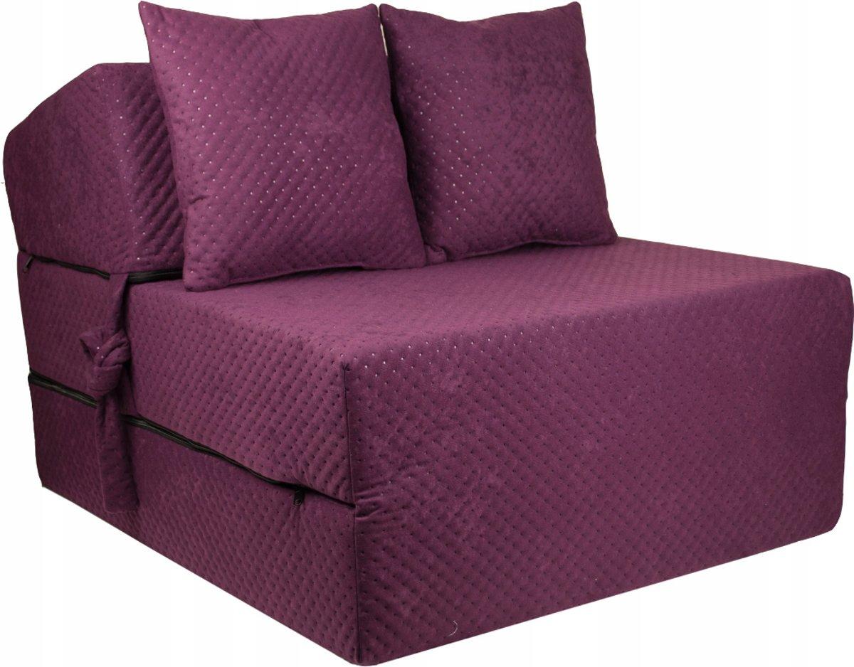 Luxe logeermatras - violet - camping matras - reismatras - opvouwbaar matras - 200 x 70 x 15 - met kussens