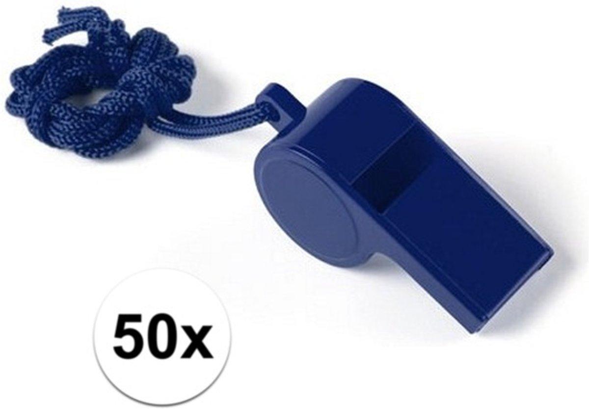50 Stuks blauwe sportfluitjes aan koord kopen