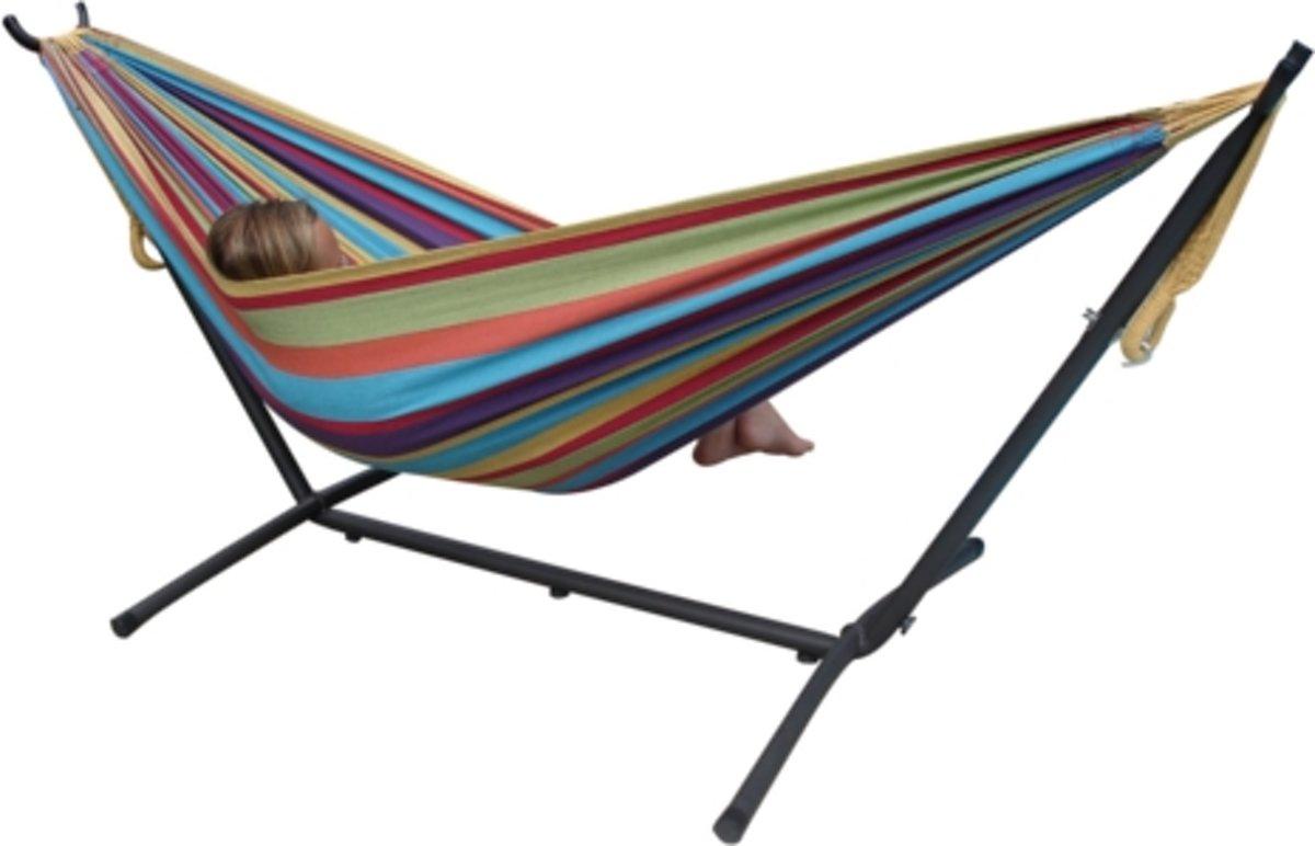 VIVERE Hangmat – Gestreept (Tropical) – Met standaard en draagtas – 2 personen