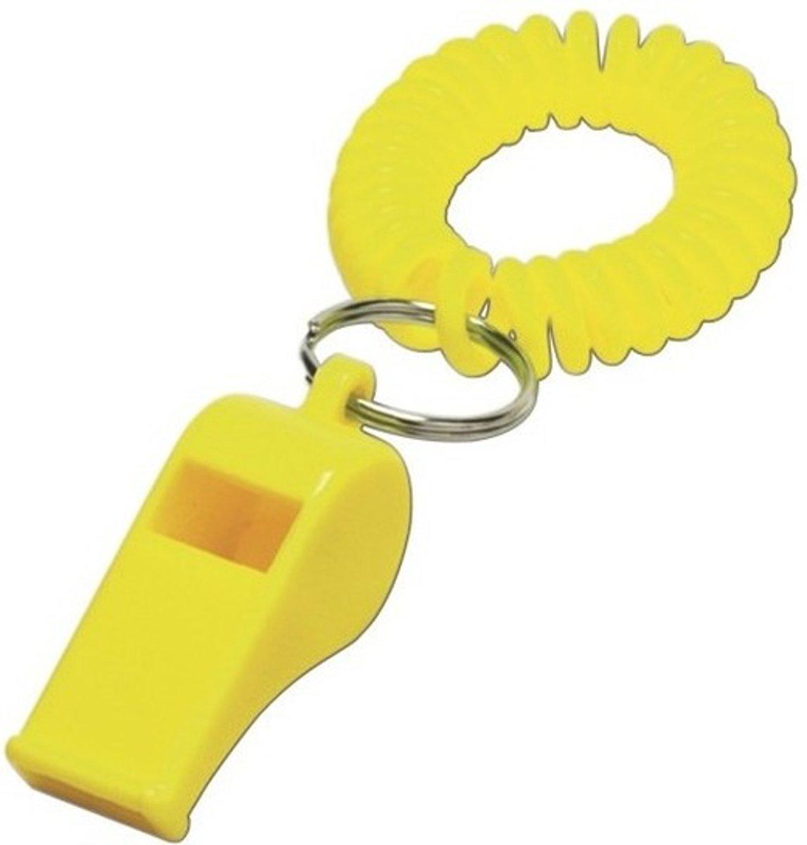 2x Geel fluitje aan polsbandje - Supporters/sportdag artikelen kopen