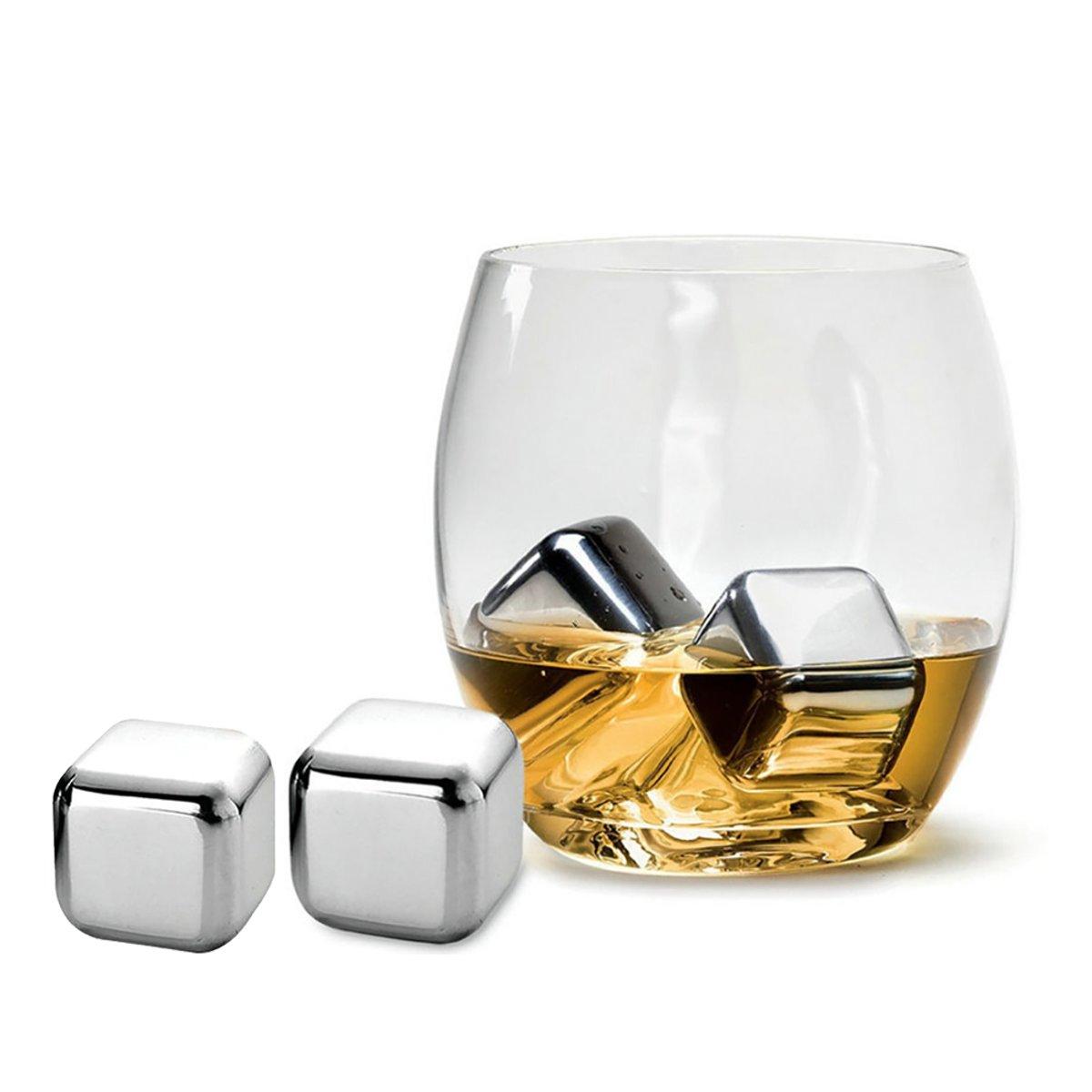 Aretica ijsklontjes chrome set van 4 / Metalen ijsblokjes voor in de vriezer - RVS kopen