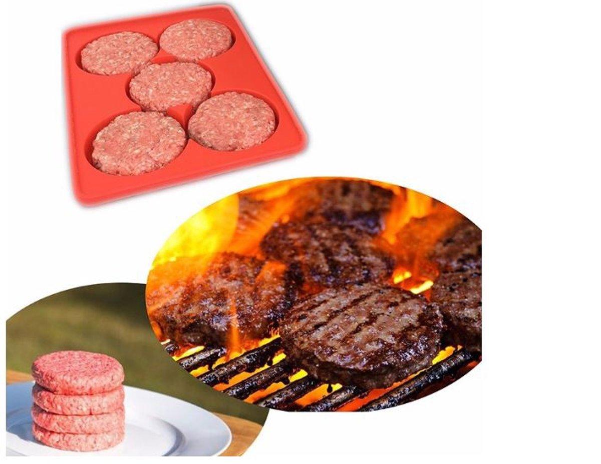 Kitchen Princess - Siliconen Hamburgerpers 5 in 1 - Burgermaker - Barbecue - BBQ - Burger Mal kopen