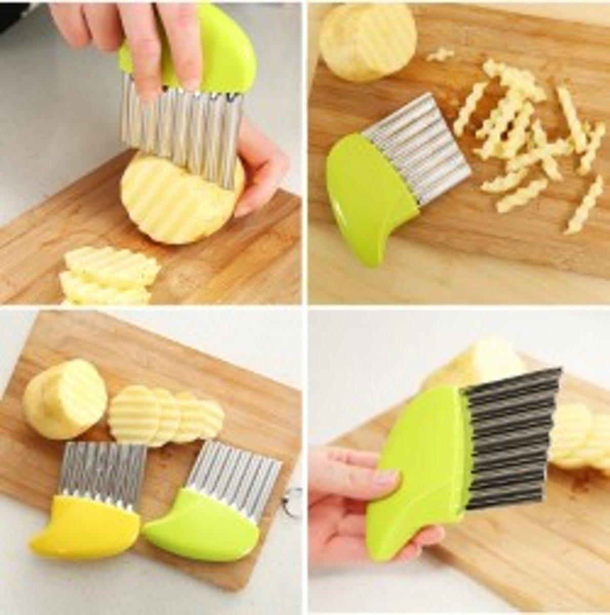 Handige chips / patat aardappel snijder / maker - Friet snijder - Geel - kopen