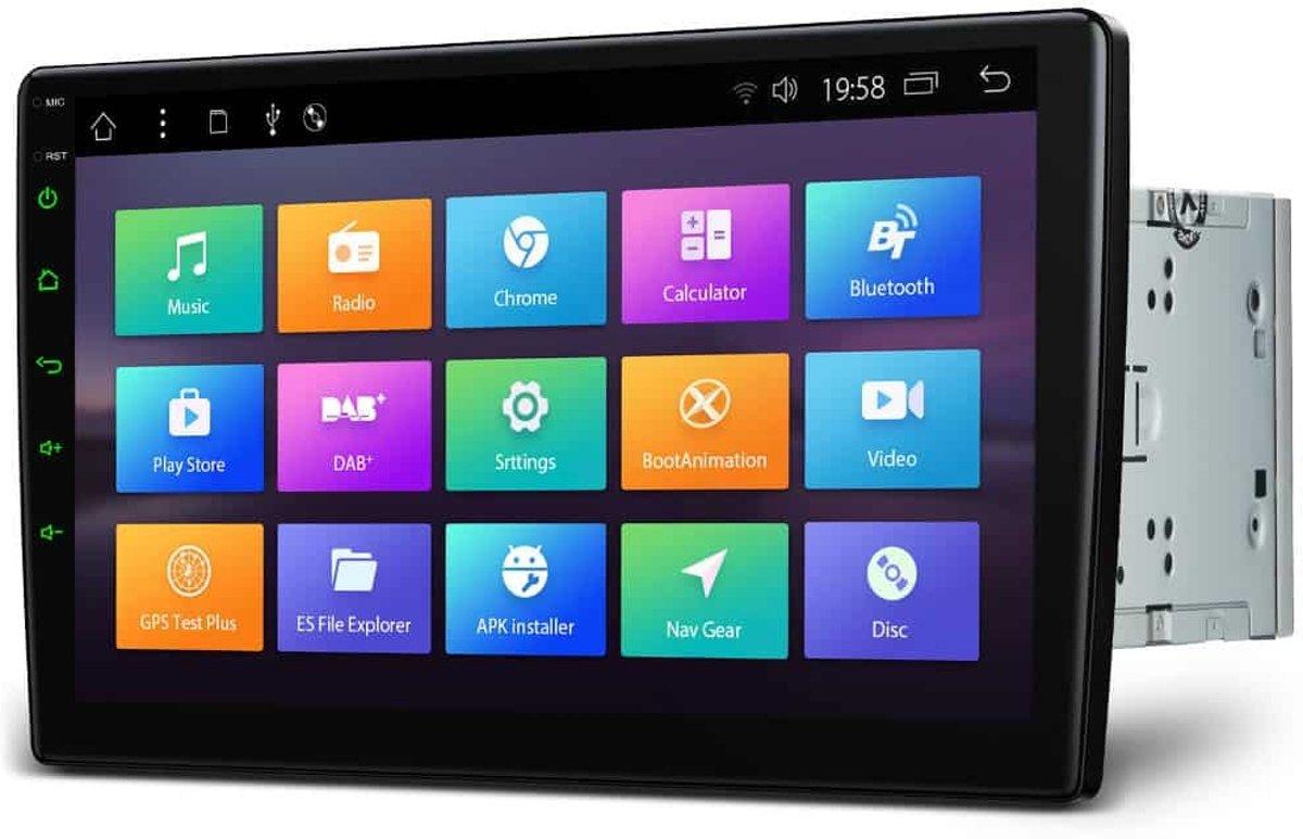 2 Din Universeel 10.1 Android 8.1 Octa-Core Navigatie 16GB ROM + 2GB RAM Draaibaar face-venster 2.5D Gebogen scherm auto DVD-speler kopen