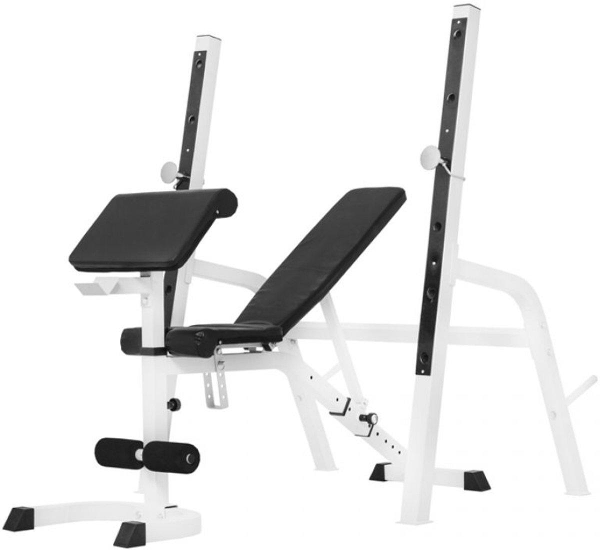 Gorilla Sports Halterbank / Squat Rack - belastbaar tot 280kg (wit) kopen
