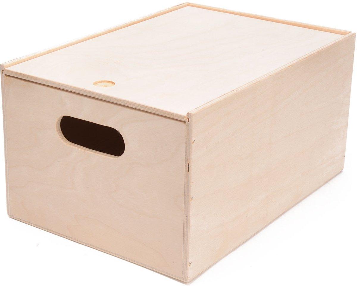 Playwood - Houten opbergkist met schuifdeksel rechthoek M - Speelgoedkist