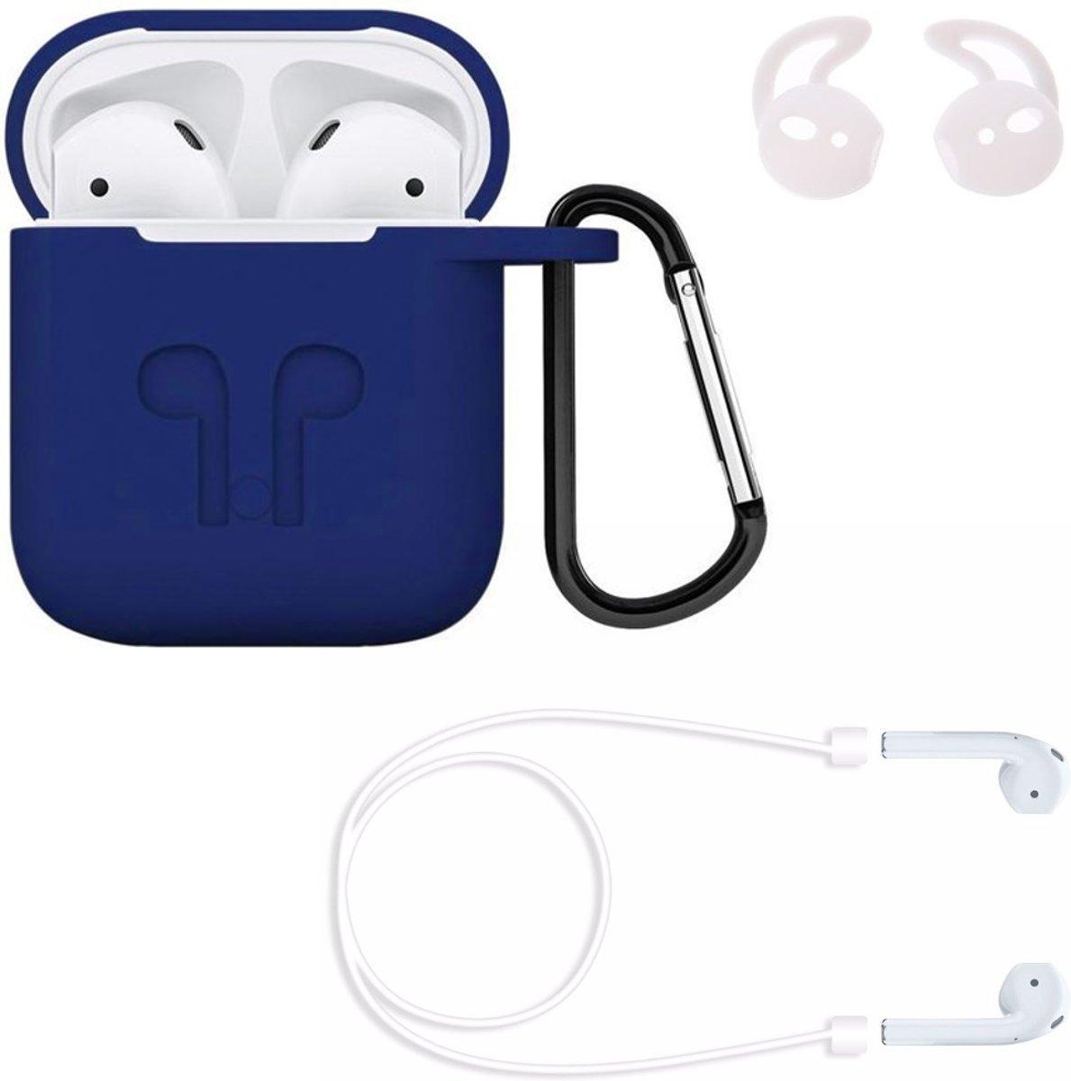 Airpods hoesje siliconen case - 3 in 1 set + strap + earhoox voor Apple Airpods - Donker blauw - KELERINO. kopen