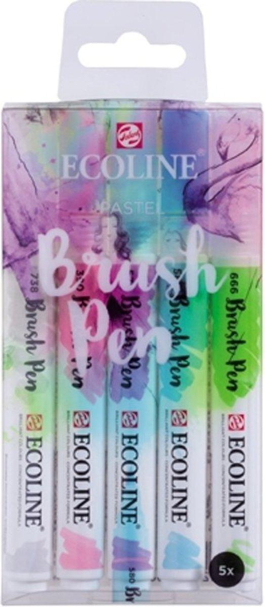 Talens Ecoline Brushpen Set met 5 Pennen (Pastel) + 1 Brush Pen Blender verpakt in een handige Zipperbag + 1 x A4 Ecoline/aquarelblok + Basis Boekje Brush/Handlettering