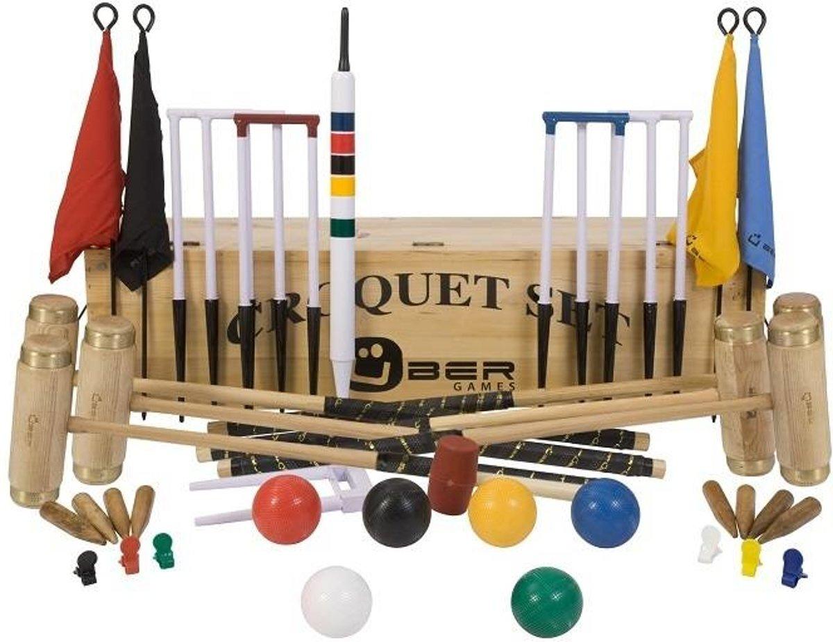 Ultieme Executive Croquet set, 6-persoons, ECO hardhout, kunststof ballen, 16mm dikke poorten Trolley