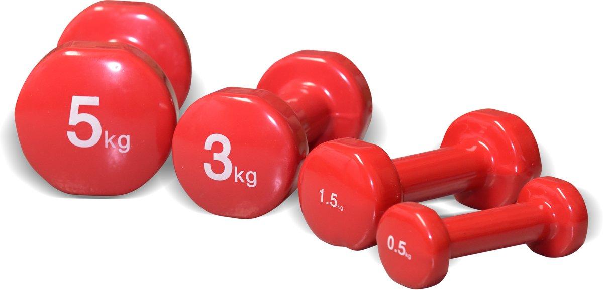 Dumbellset Vinyl - 4 kilogram - rood kopen