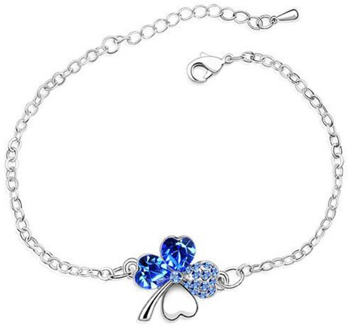 Luxe armband met blauw Swarovski kristal - klaver vier - Valentijnscadeau voor haar - cadeau vriendin kopen