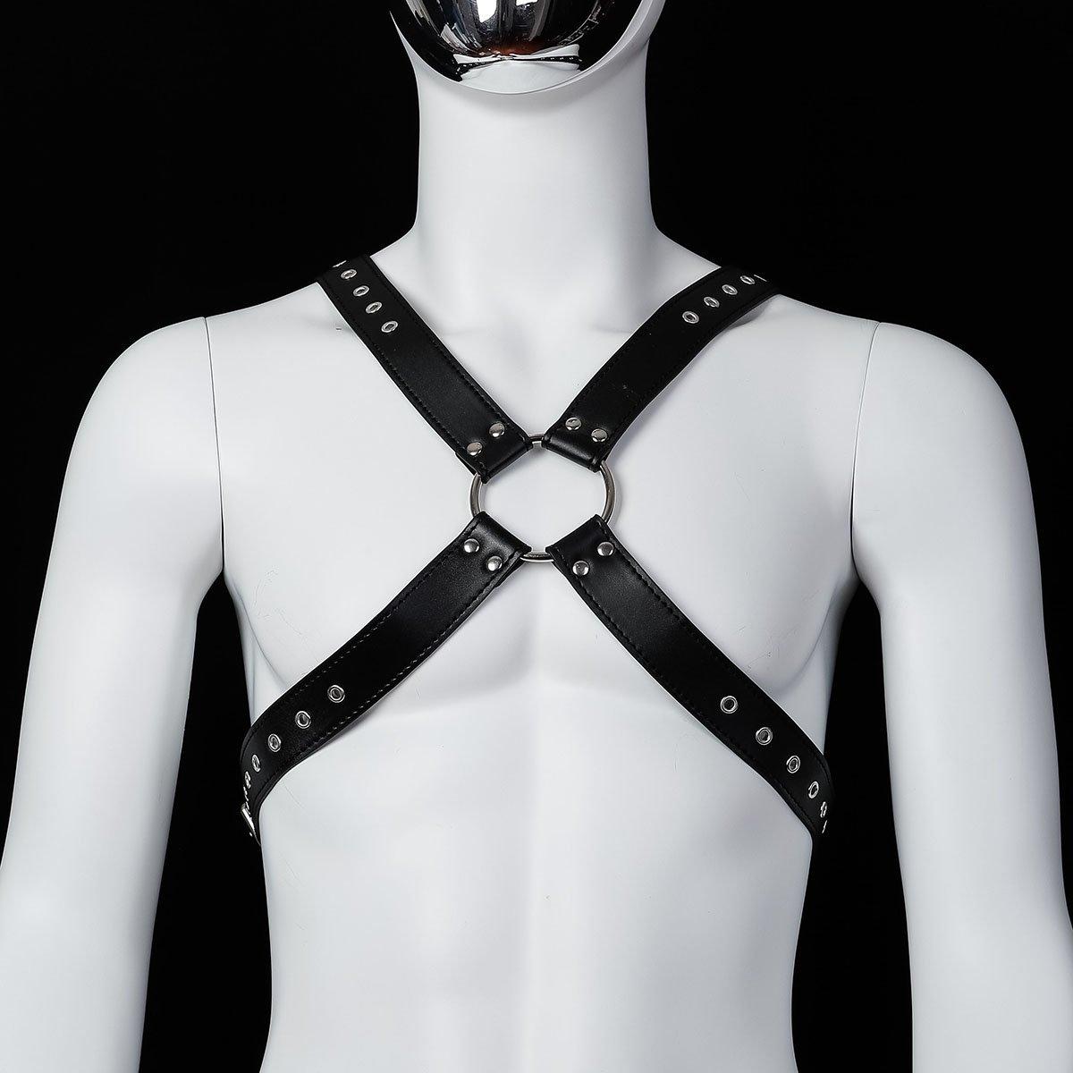 Foto van Banoch - Chest harness Radin black - imitatie leren harnas voor man