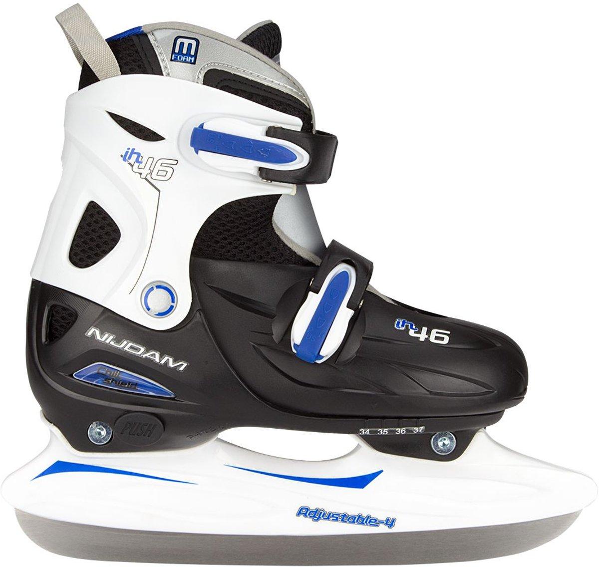 Nijdam Junior IJshockeyschaats Junior Verstelbaar - Hardboot - Zwart/Zilver/Blauw - 30-33