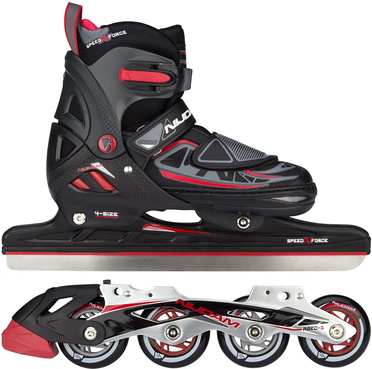 NORENSCHAATS/SKATE COMBO JUNIOR • SEMI-SOFTBOOT • N-FORCE I - Zwart/Rood/Antraciet - Maat 29-32