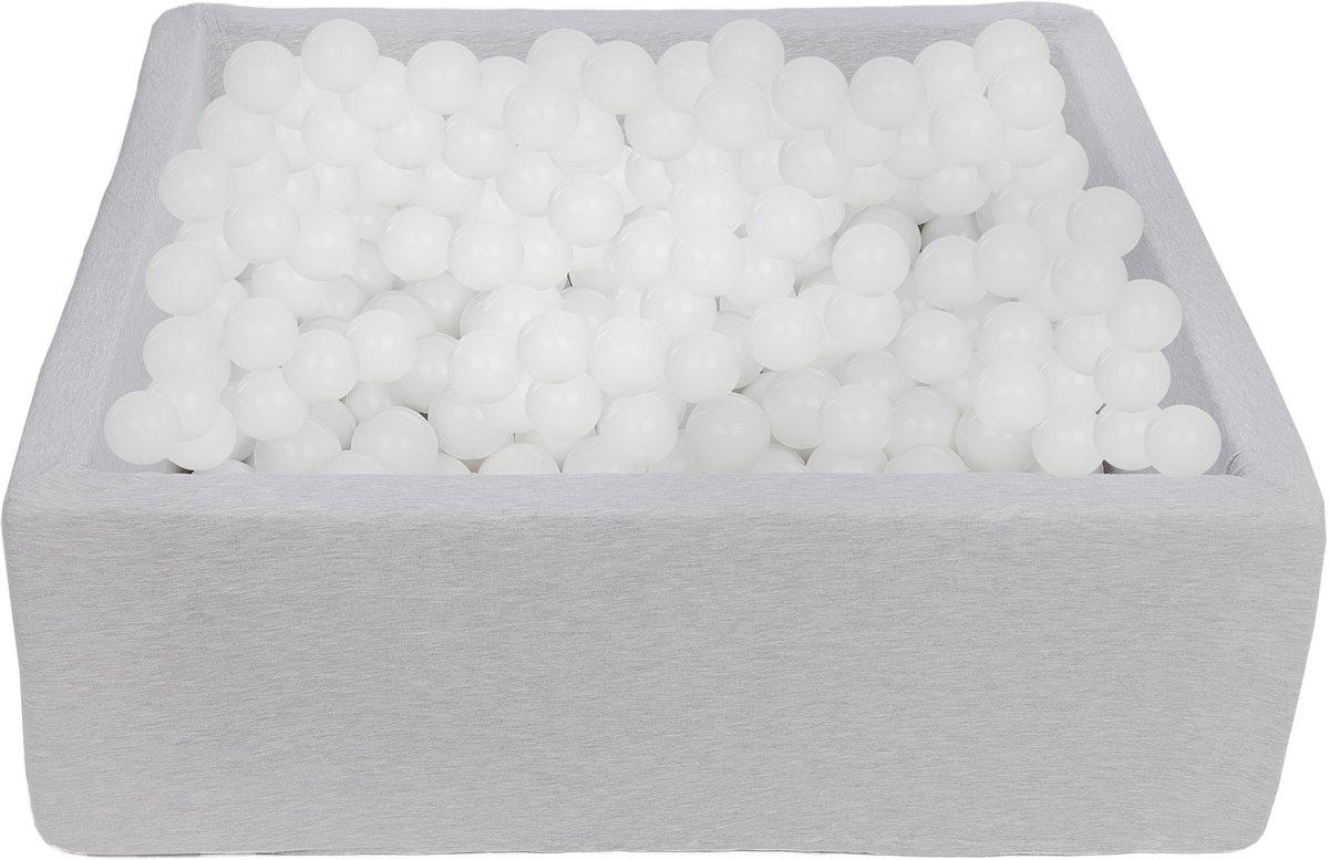 Zachte Jersey baby kinderen Ballenbak met 450 ballen, 90x90 cm - Witte