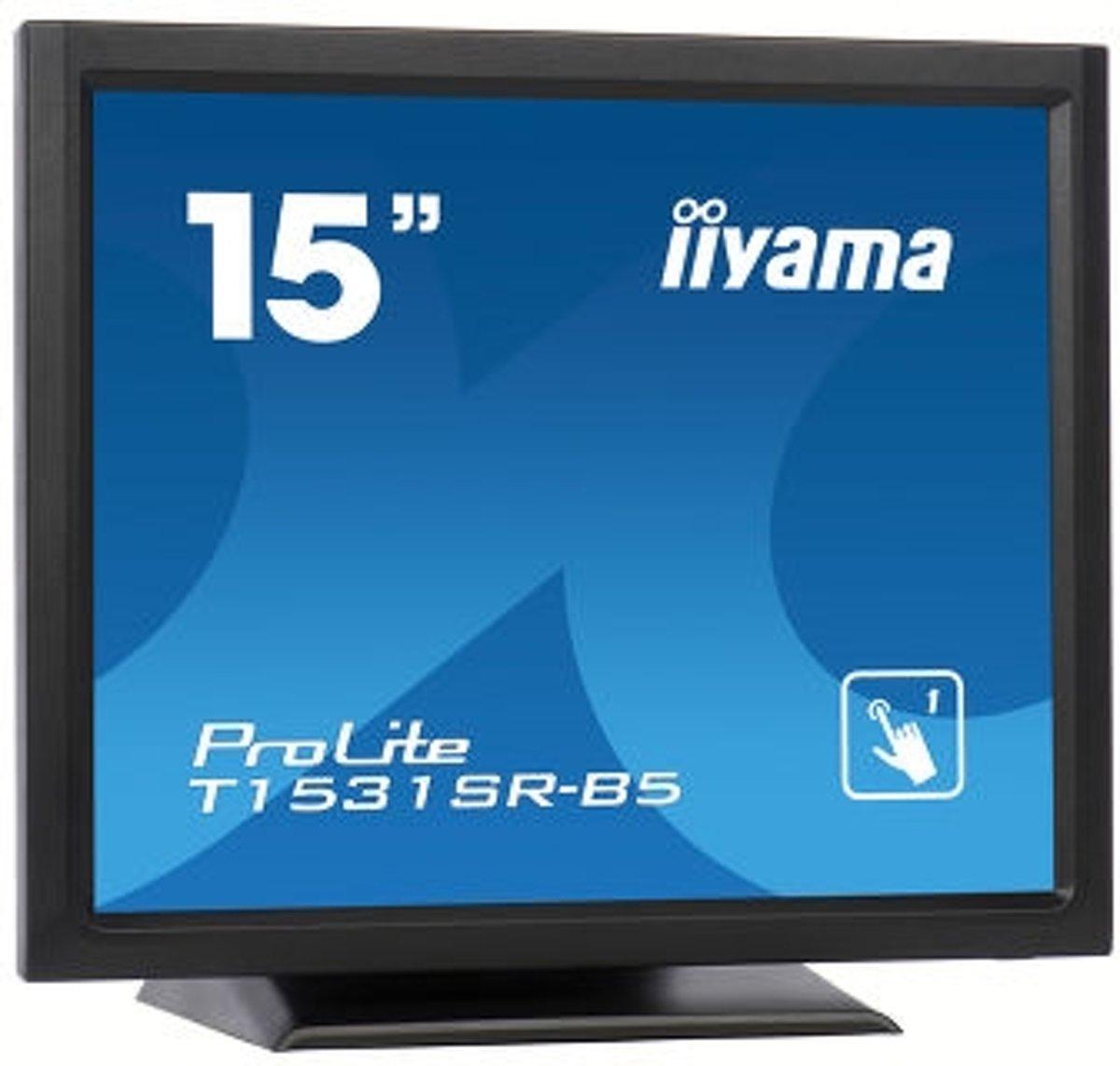 iiyama ProLite T1531SR-B5 15'' 1024 x 768Pixels Zwart touch screen-monitor