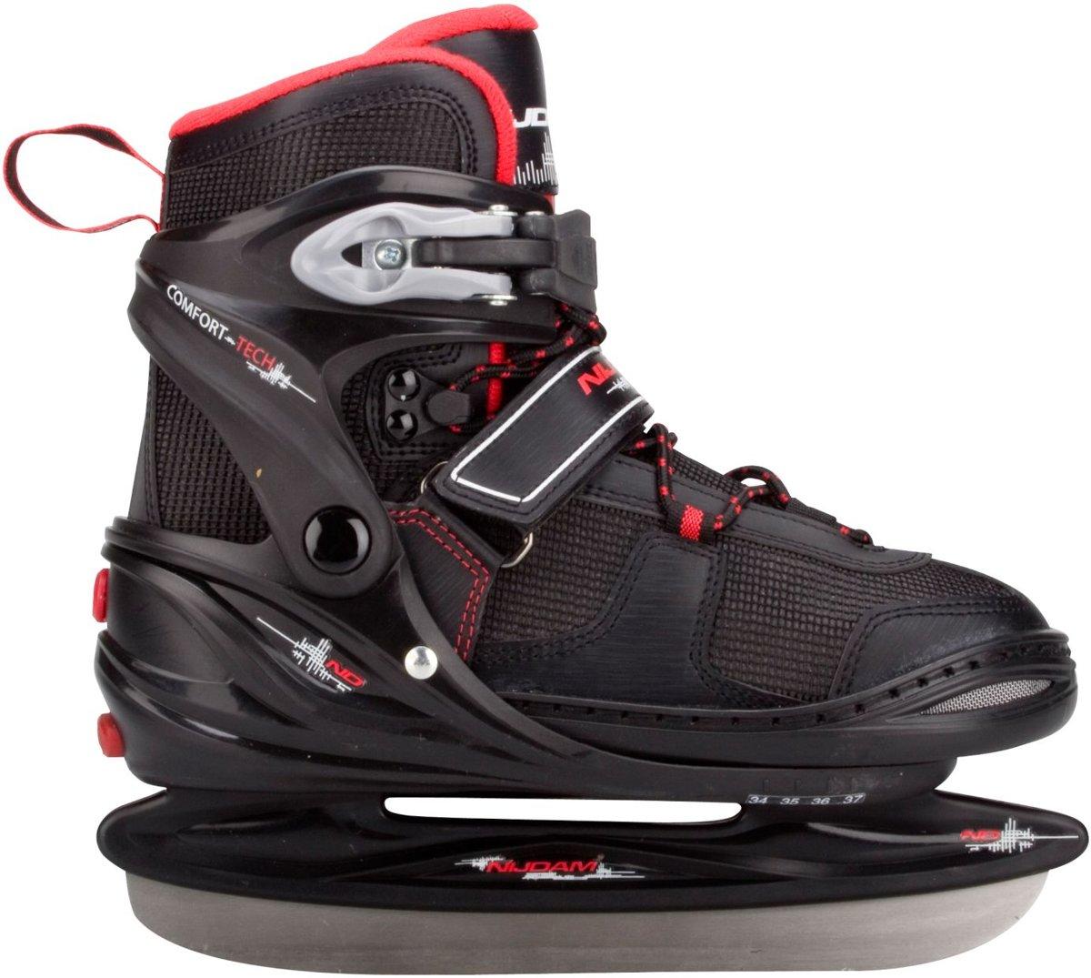 Nijdam 3135 Junior IJshockeyschaats - Verstelbaar - Semi-Softboot - Rood/Zwart - Maat 38-41