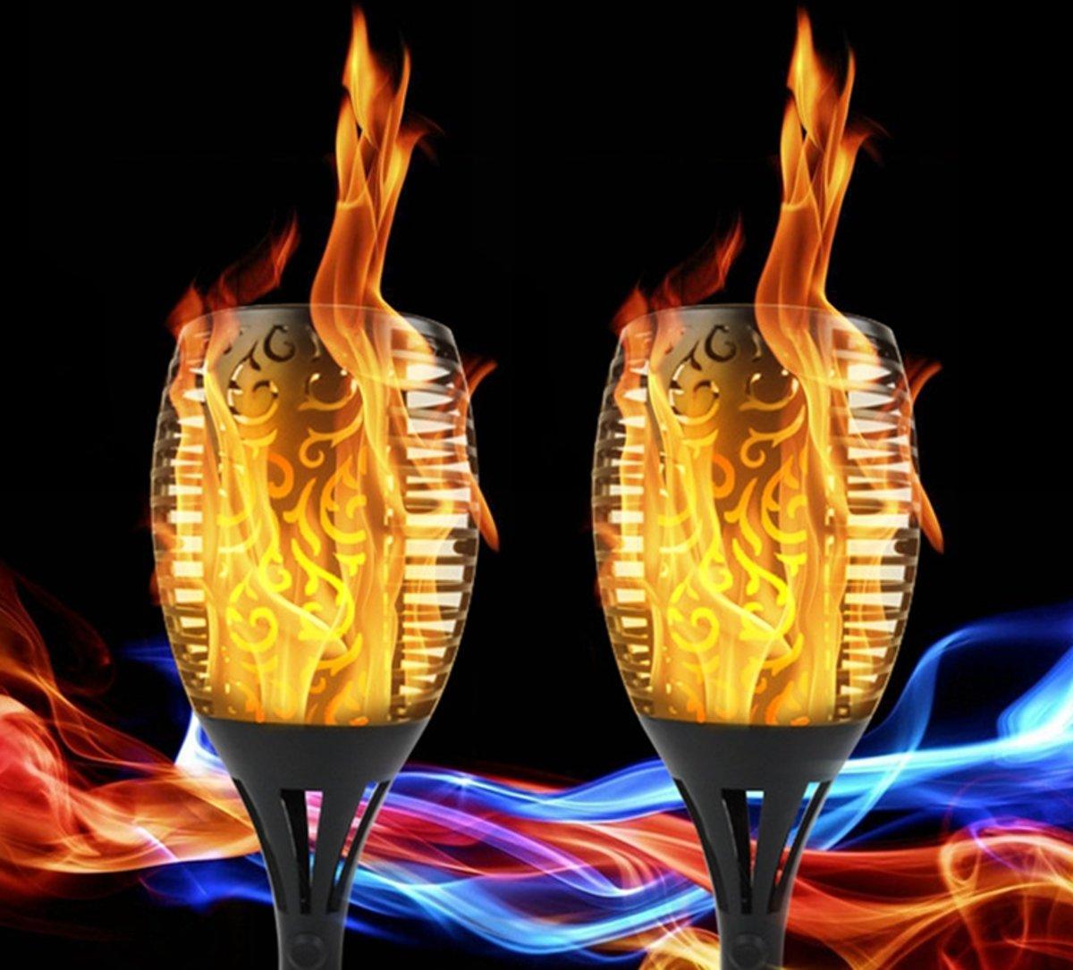 2 STUKS Vuur/Flame 96LED  Solar Fakkel met echte vuursimulatie kopen