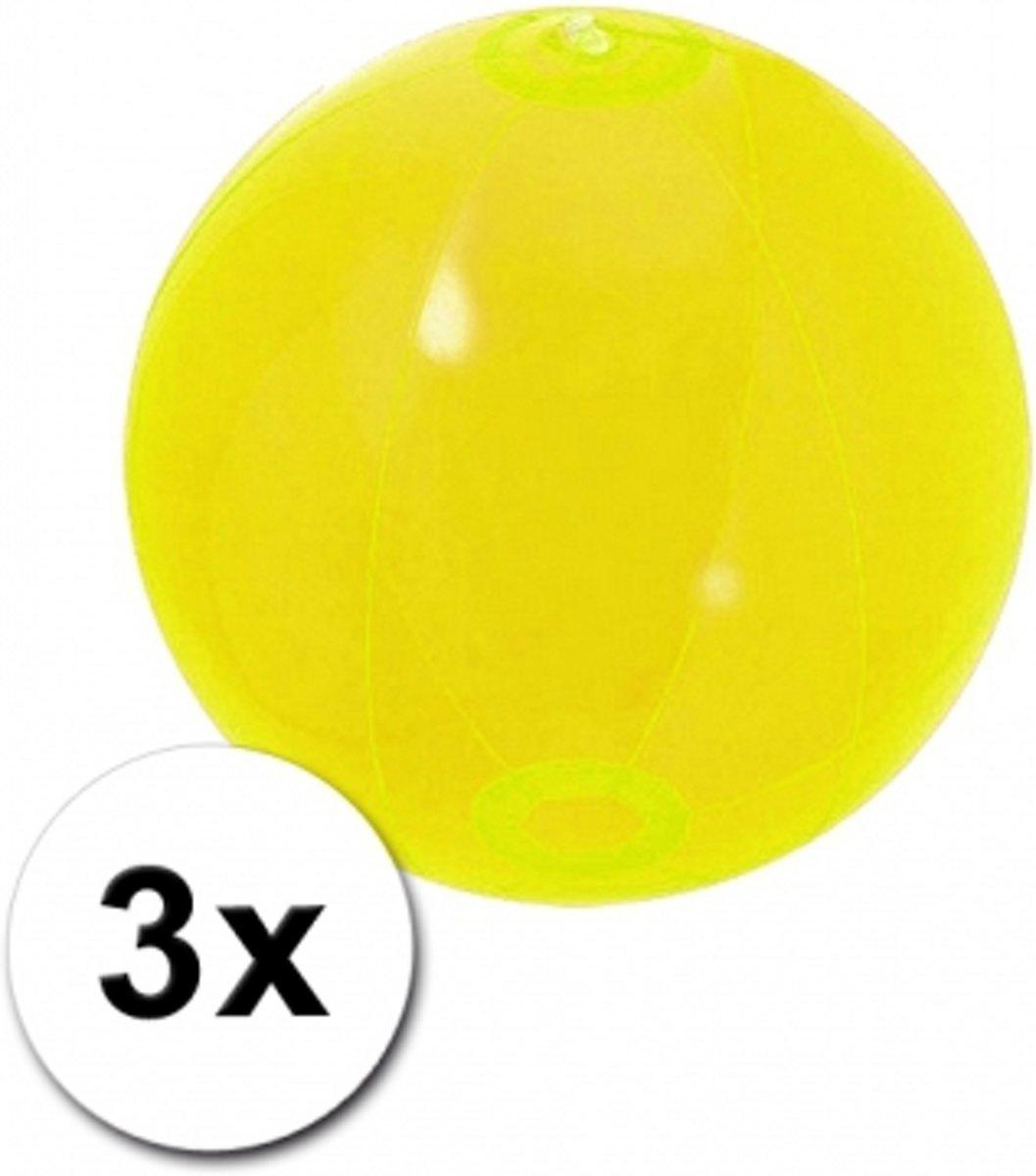 3 opblaasbare strandballen neon geel 30 cm