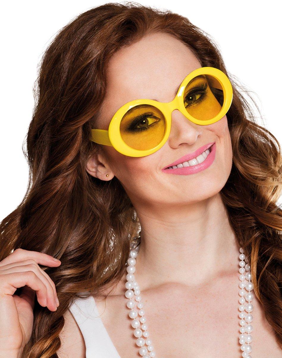 Gele disco bril voor volwassenen - Verkleedattribuut kopen