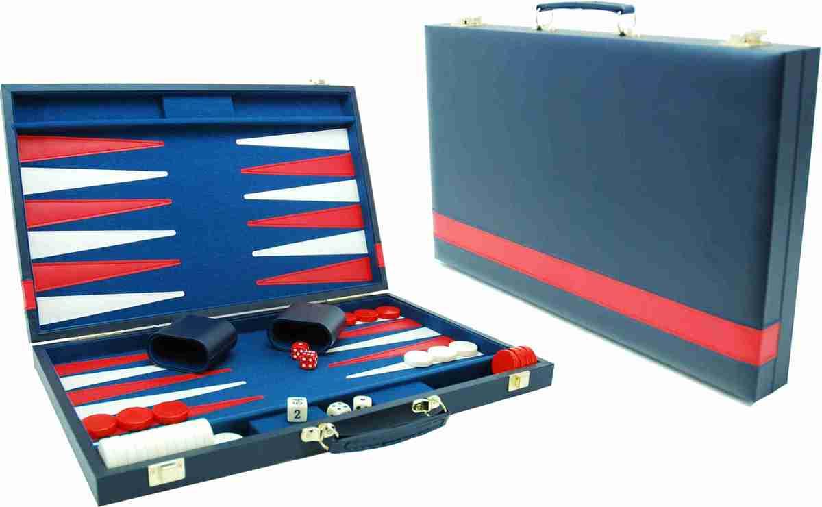 Hot sports Backgammon koffer blauw 46x58CM