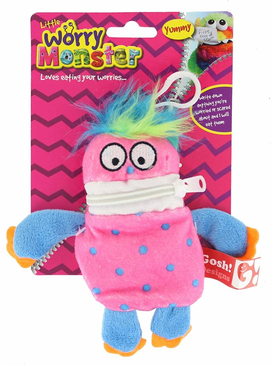 """5.5 """"Little Worry Monster Clip-On Pluche Knuffel - roos & blauw"""
