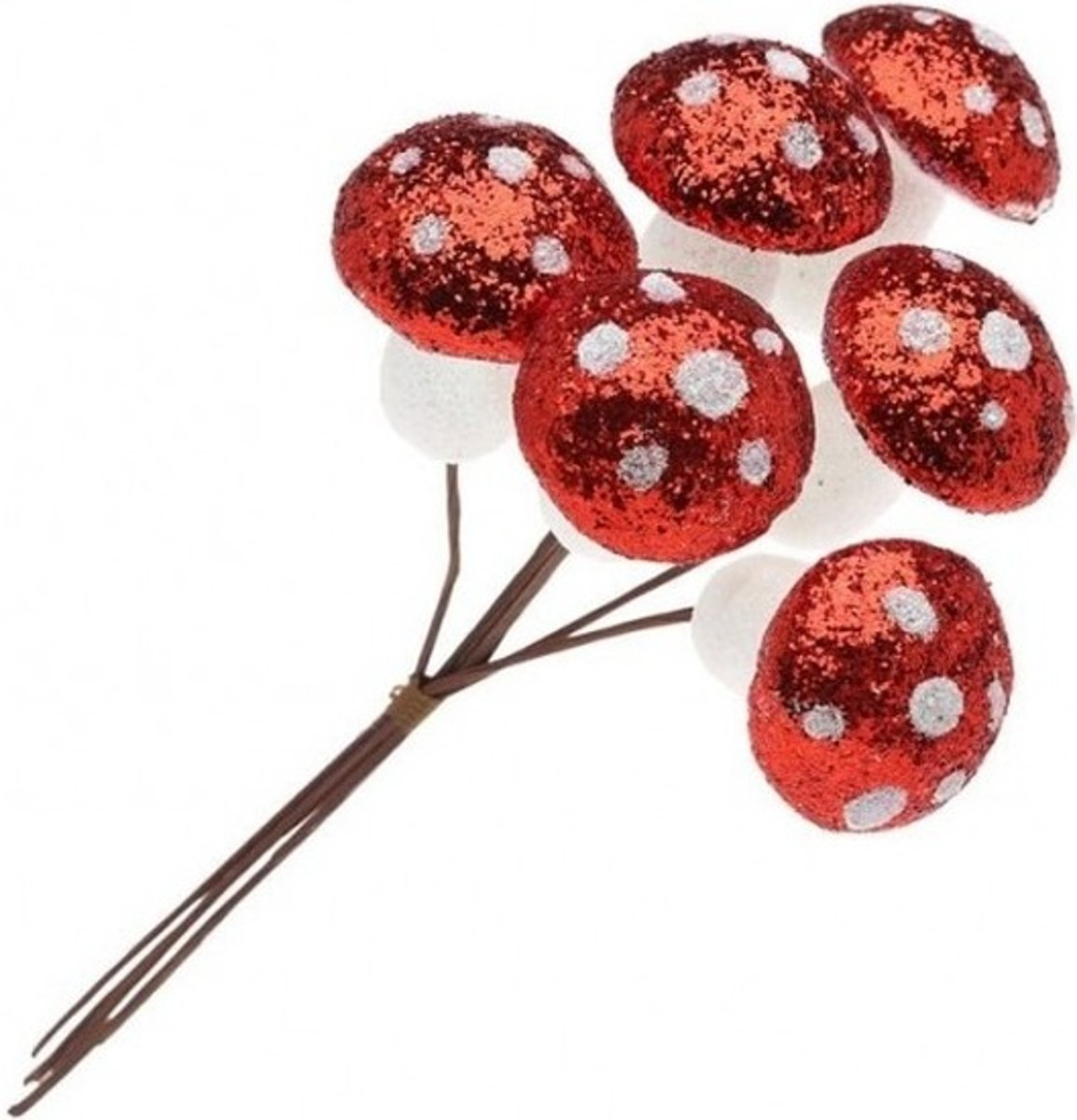 6x Glimmende paddenstoelen glitter instekers rood/wit voor kerststukjes 18 cm - Kerststukje maken onderdelen - Kerstversiering kopen