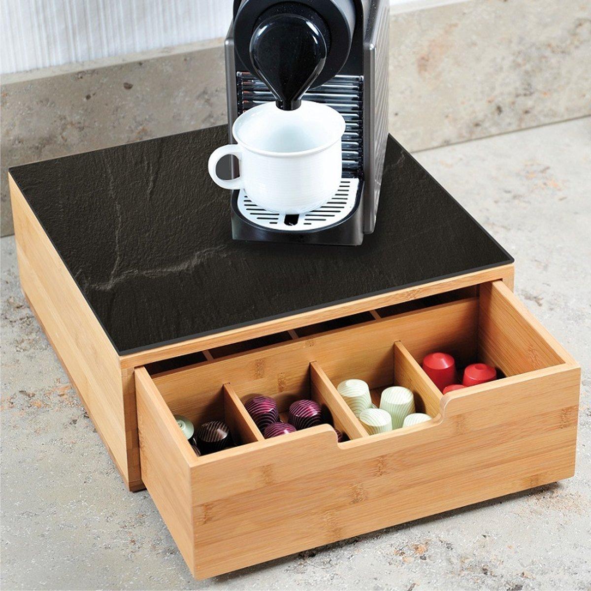 Koffiemachine standaard & koffie capsule houder in 1 - Bamboe - 8 vaks - 30 x 31 cm kopen