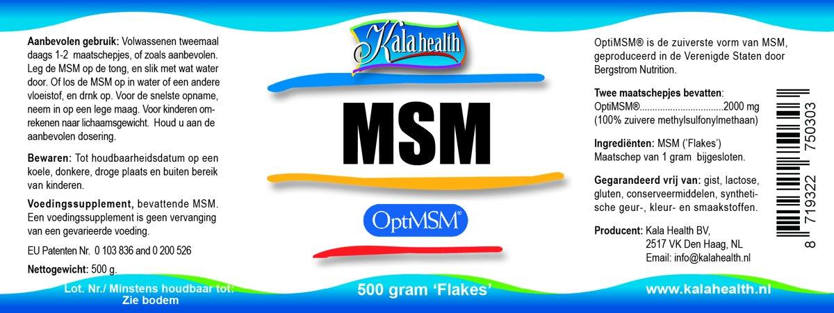 Kala Health OptiMSM 500 Gram poeder MSM (methylsulfonylmethaan)